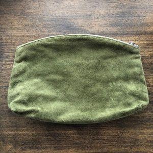 Baggu olive suede clutch